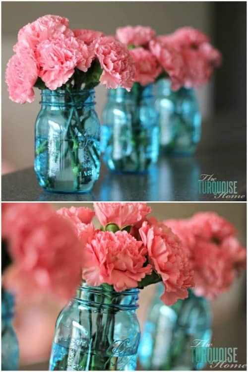 Blue Mason Jars with Pink Flowers