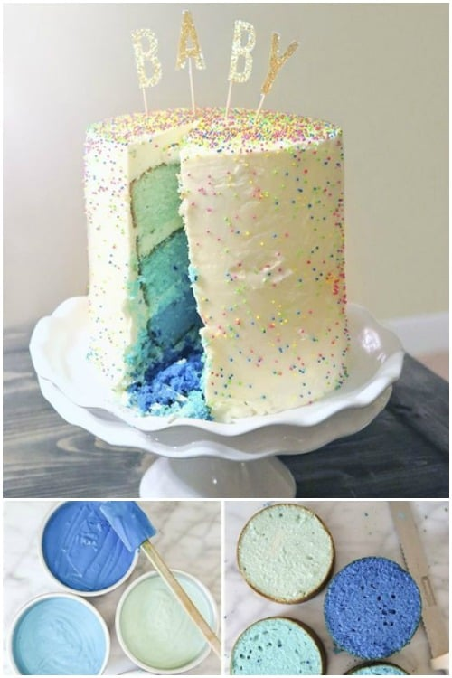 Ombre Gender Reveal Cake Idea