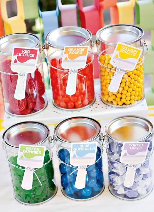 Art Party Ideas including Paint Bucket Candy Station