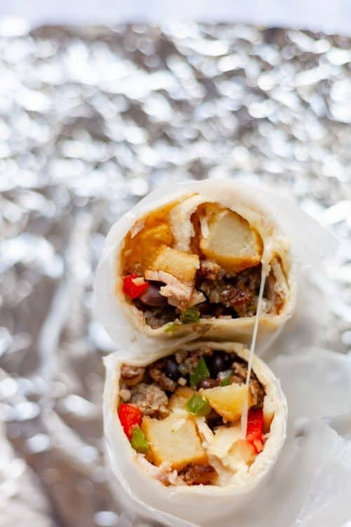 Easy Breakfast Items | Southwest Egg-Free Breakfast Burritos