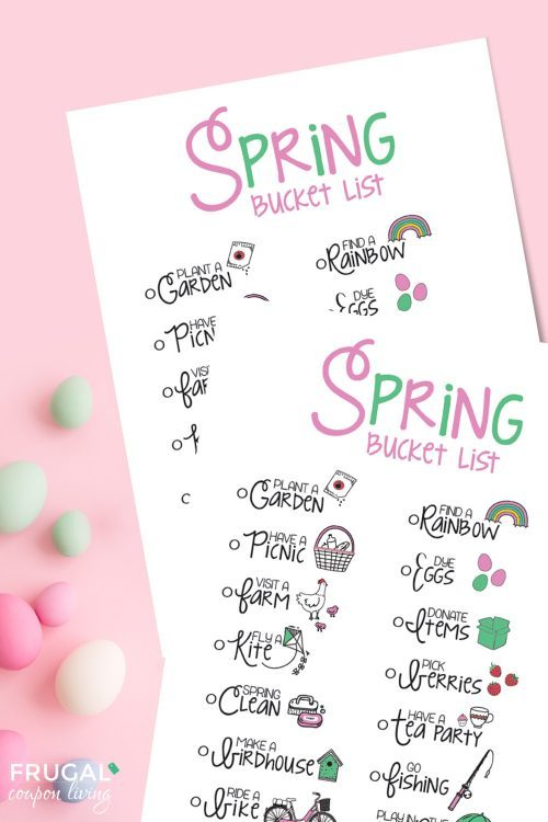 Family bucket list for spring with easter eggs