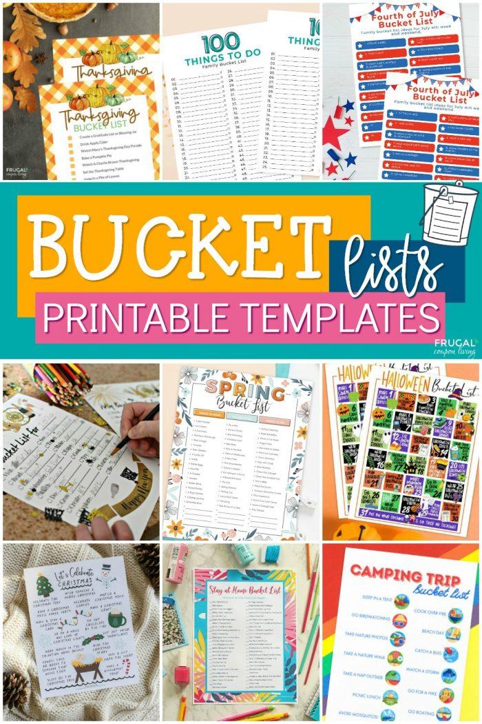 Family Bucket Lists | Bucket List Printable Templates & Bucket List Ideas