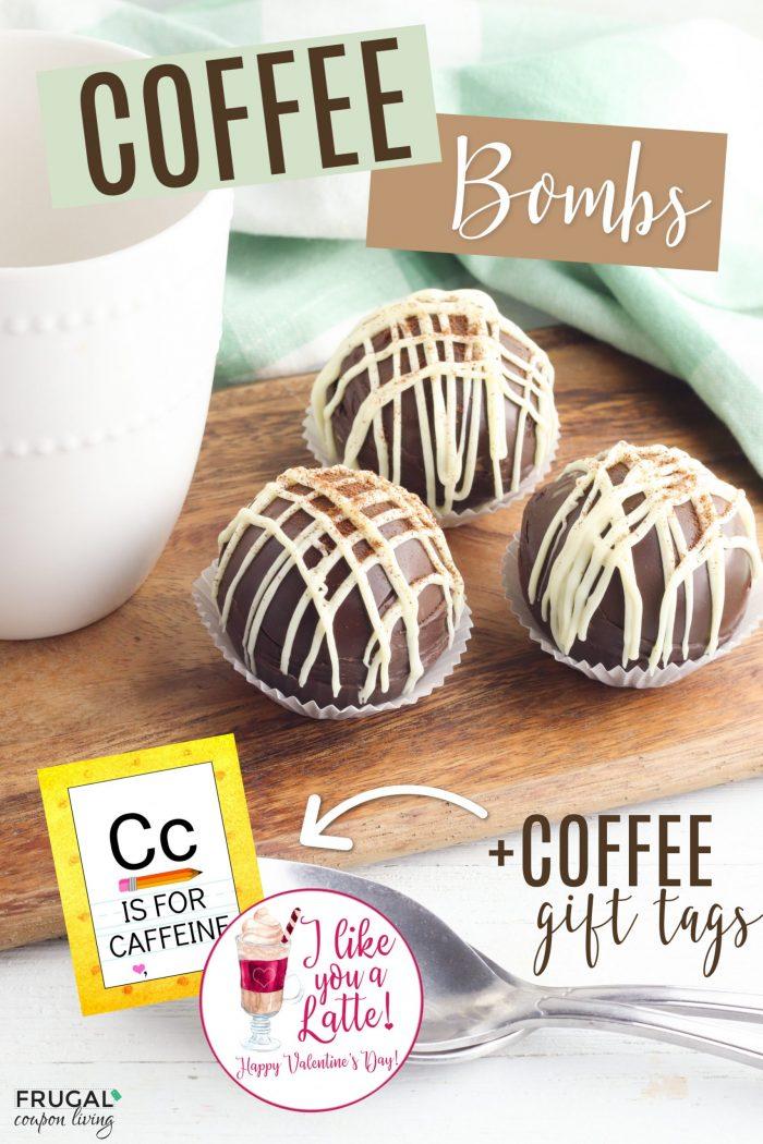 Mocha Coffee Bombs Gift Idea with printable coffee gift tags
