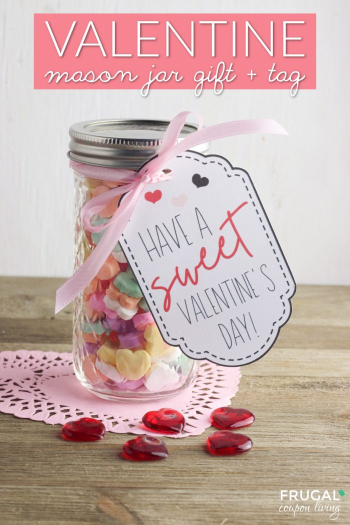 Mason Jar Valentines with Valentine Gift Tag & Valentine Cricut Ideas