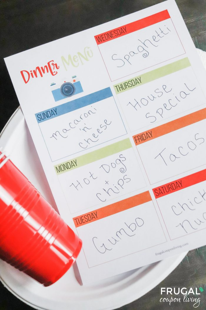Staycation Dinner Menu Printable Planner PDF