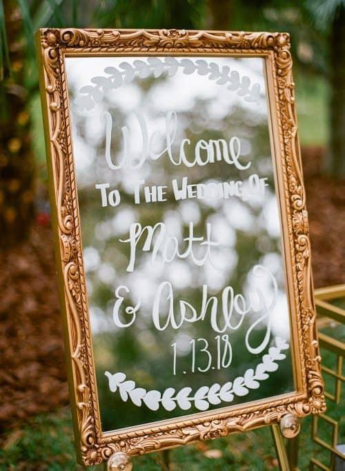 DIY Wedding Mirror Welcome + Cheap Wedding Ideas on a Budget