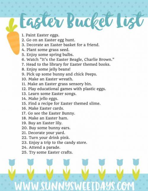 Easter Bucket List Printables + Year Round Buck List Ideas