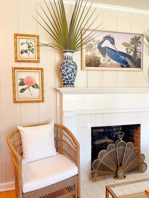 Grandmillennial Fire Place with & White Ginger Jar and Blue Heron Print