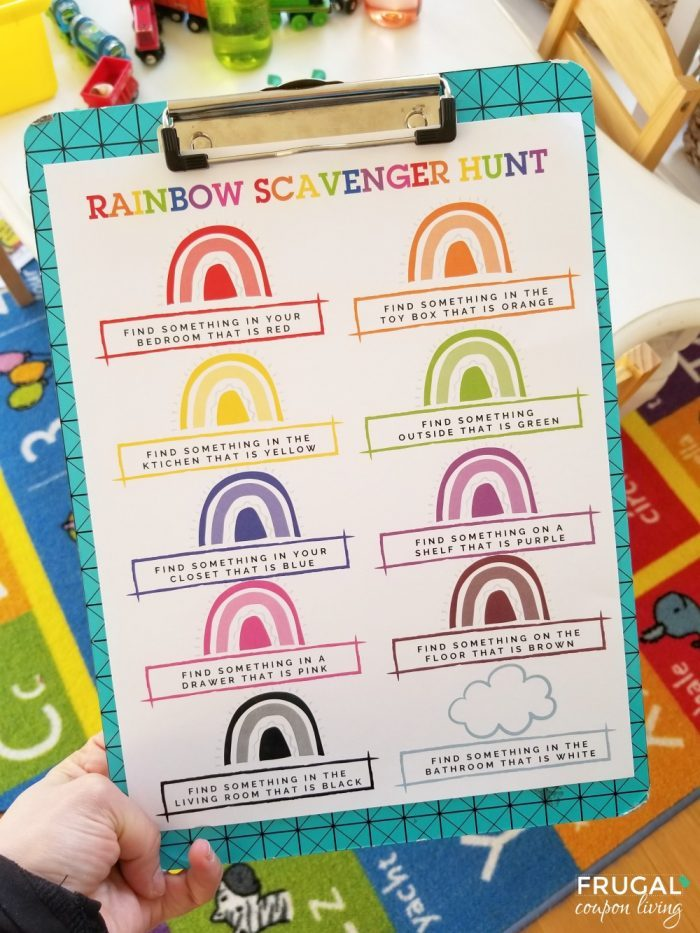 Rainbow Scavenger Hunt Printable Game - Scavenger Hunt Ideas for Kids