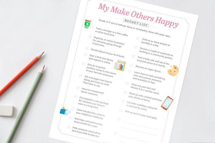 Random Acts of Kindness Printable PDF + Bucket List Templates
