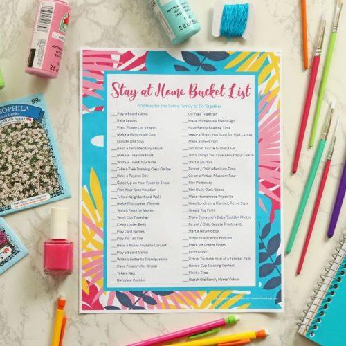 Stay at Home Bucket List Printable PDF + Bucket List Templates