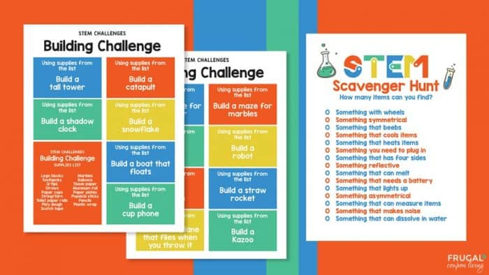 STEM Printables for Kids - Building Challenge & Scavenger Hunt