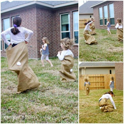 Easter Sack Race with Bunny Tails + Traditional Easter Games for Kids