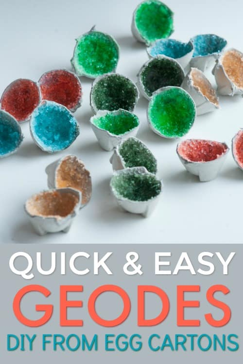 DIY Egg Carton Geodes Craft + Gem Rock Party Ideas