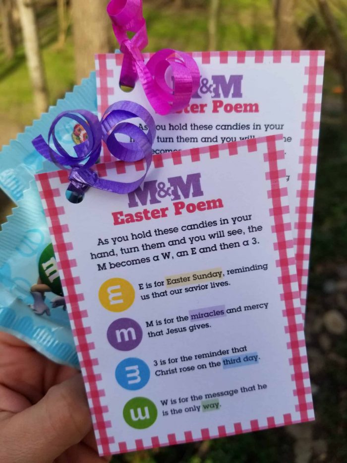 M&M Easter Poem and Easter Gift Tag - Tie to Pastel M&Ms