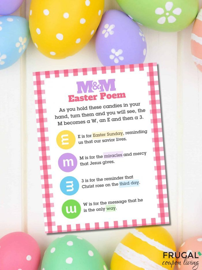 Easter Poem Using M&Ms - Free Easter Printable PDF Gift Tag