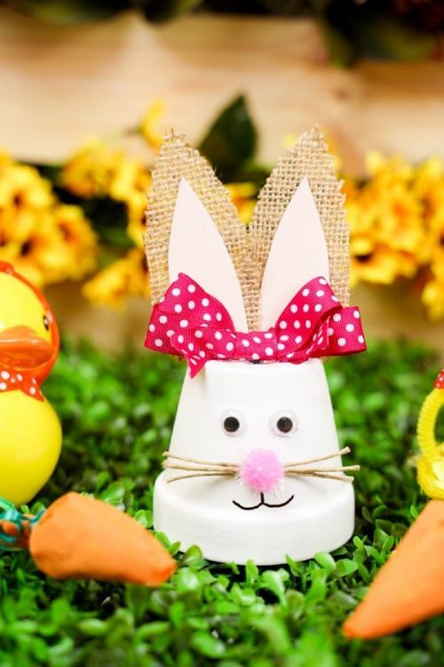 Easter Bunny Clay Pot Decor + Terracotta Pot Crafts