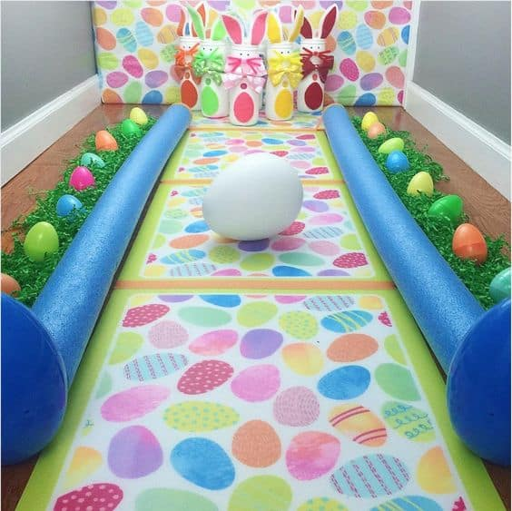 Kids Easter Party Games + Easter Bowling with Pool Noodles, Eggs and Bunny Pins
