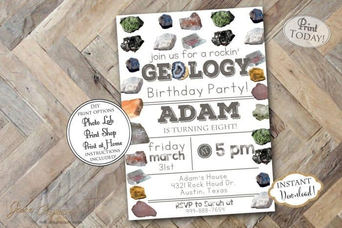 Rock Party Invitations + Rocking Geology Party Ideas