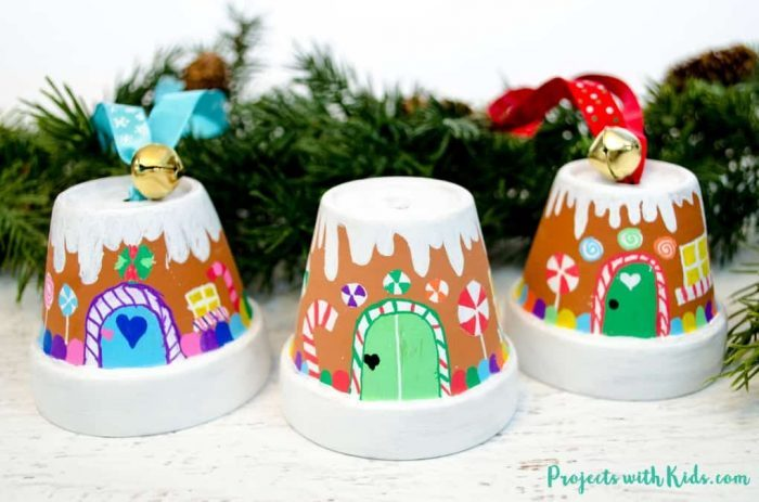 Gingerbread House Ornaments + Christmas Clay Pot Crafts
