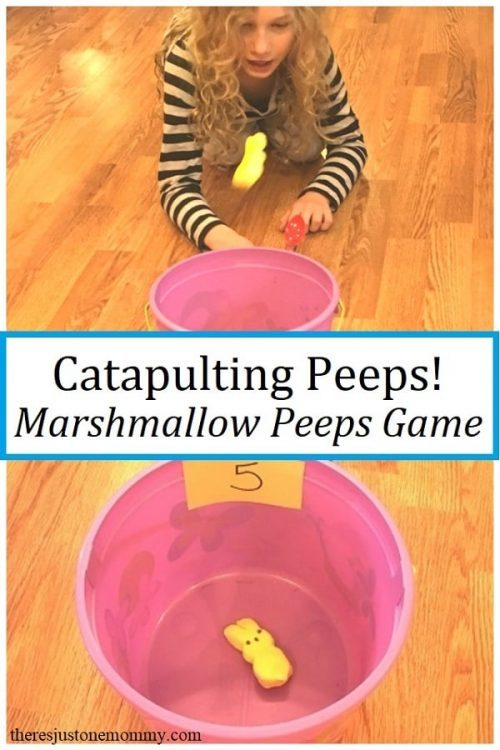 Easter STEM Activities & Games + Plastic Spoon Craft Stick Catapults with Peeps Candy