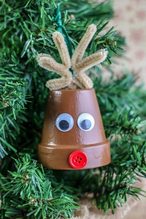 Rudolph Ornament + Christmas Clay Pot Crafts