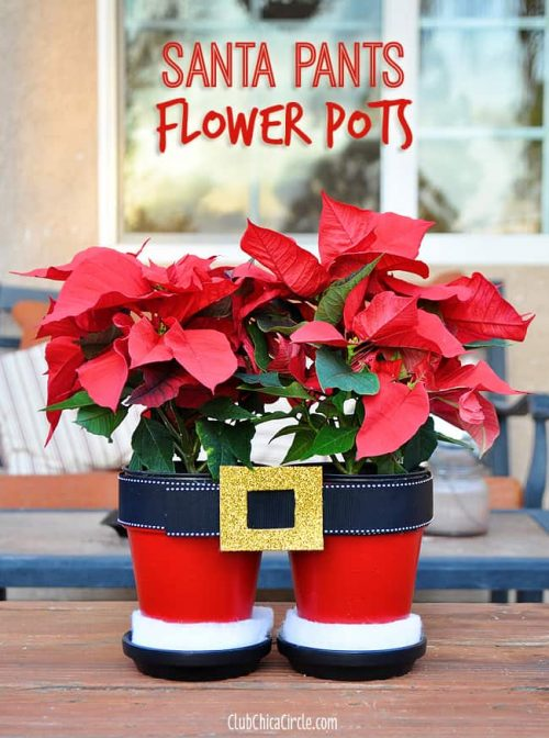 Santa Pants Flower Pots | Clay Pot Crafts for Christmas