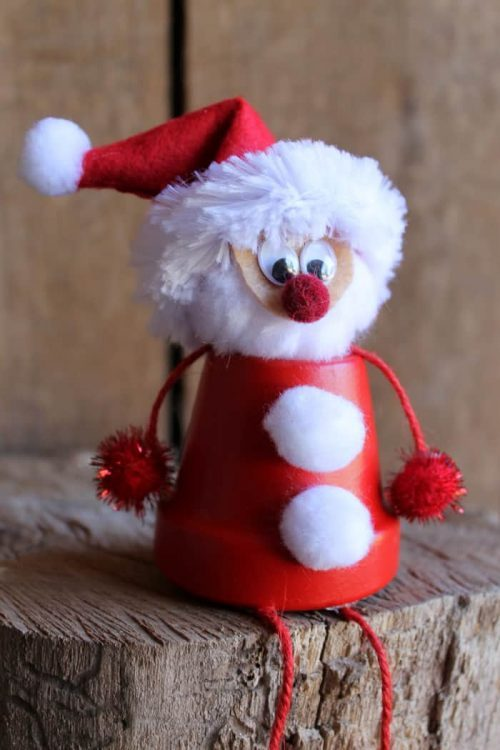 Santa Clay Pot Decoration Ideas for Christmas