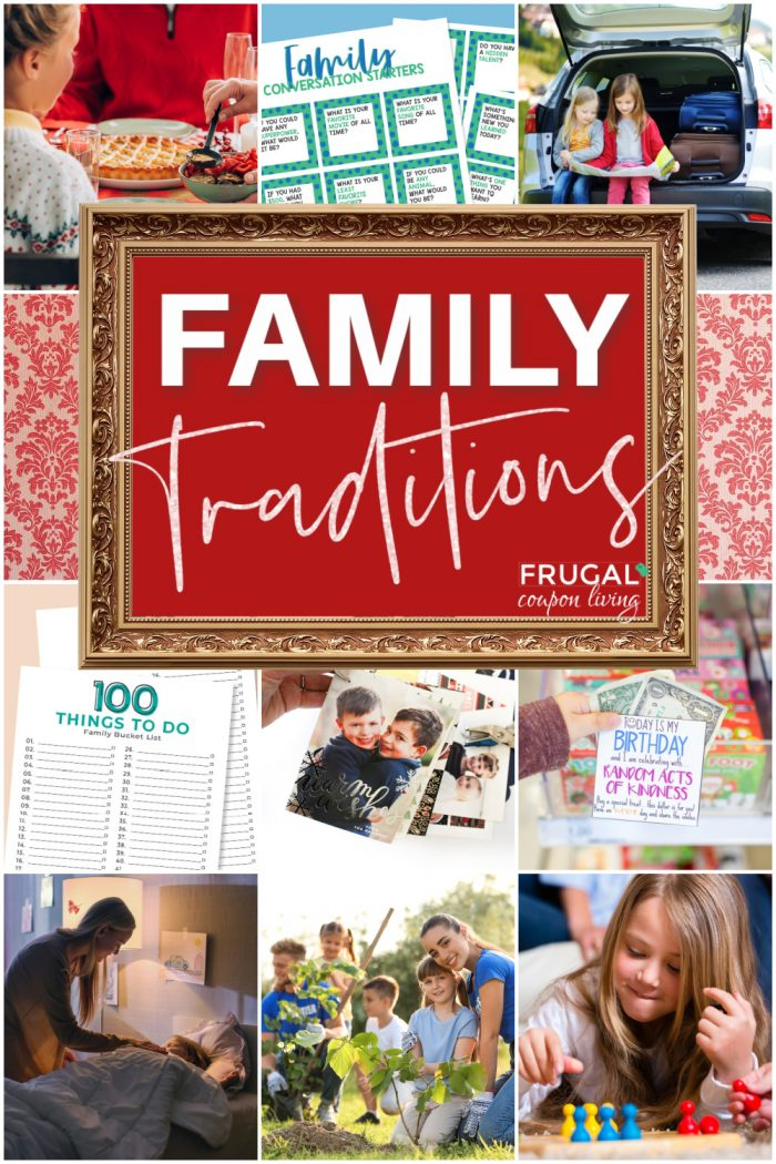 a collage of family tradition ideas with kids and parents and family printables