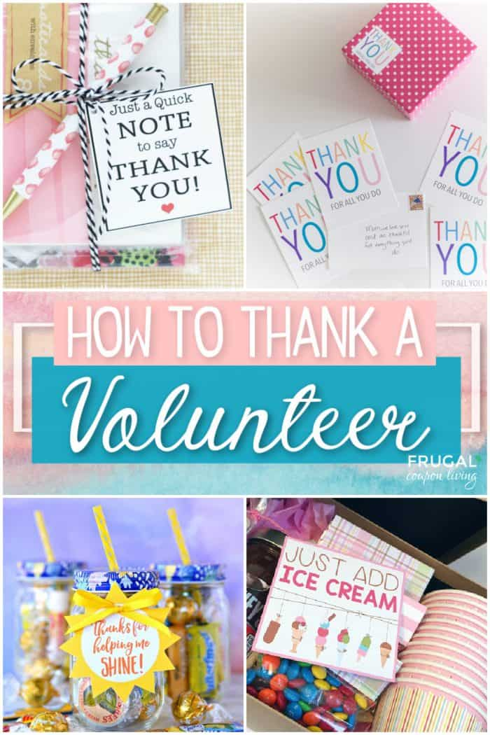 A collage of volunteer gift ideas with printable thank you gift tags