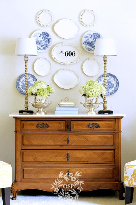 Blue & White Chinoiserie Ceramic Plate Wall Decor