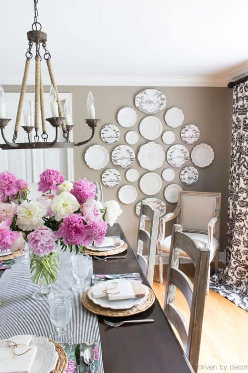 Decorative Plate Wall in the Dining Room & Dish Gallery Wall Ideas