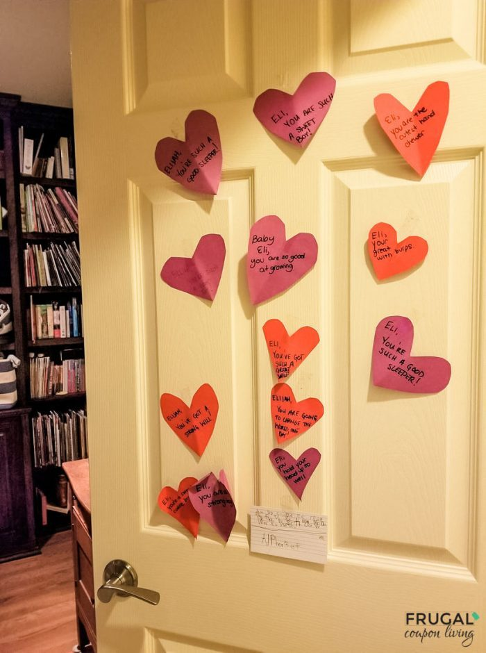 Valentine family tradition with red and purple hearts on a bedroom door