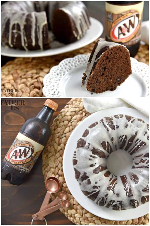 bundt cake with A&W root beer and white icing