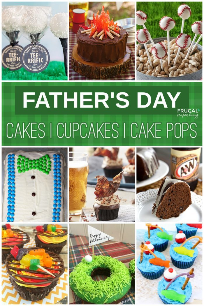 designs of father's day cake pops, cakes, dontus, and cupcakes