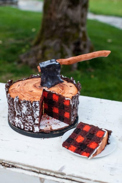 lumberjack checkered cake with axe in the center