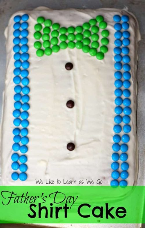 bow tie and suspenders cake using M&Ms
