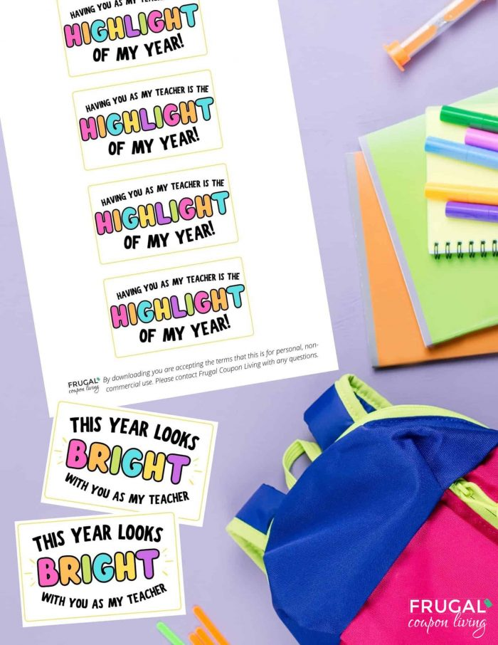 highlighter teacher gift tag printable