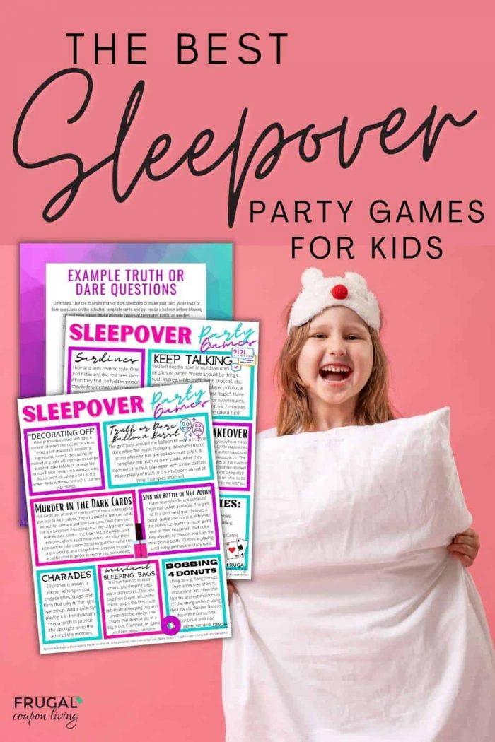 Sleepover pajama party games printable PDF