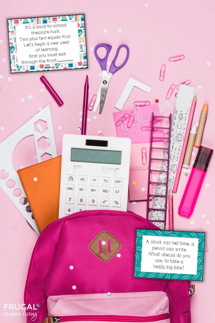 back to school supply scavenger hunt clues for kids