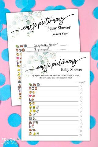 baby shower emoji Pictionary game