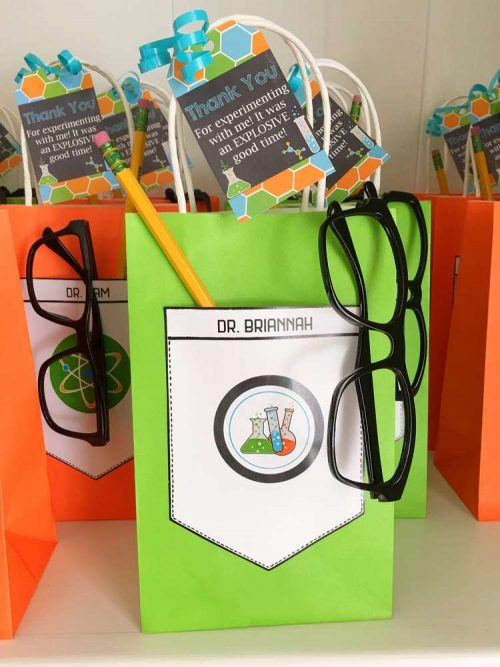 Mad Scientist Party Favors with Explosive Good Time Science Gift Tags