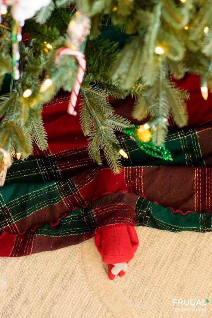 Elf on the Shelf Hiding in the Tree Skirt