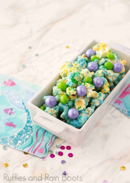 mermaid party food rainbow popcorn