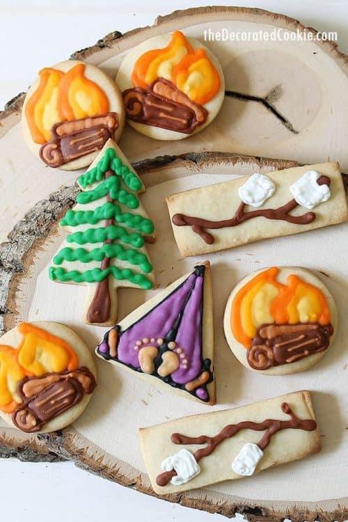 cute camping cookies