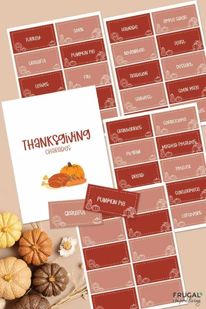 free thanksgiving charades cards printable