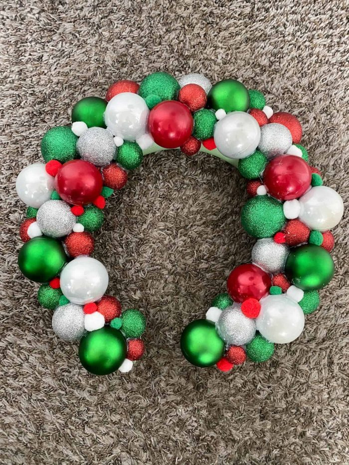 DIY Ornament Wreath with Pom-Poms