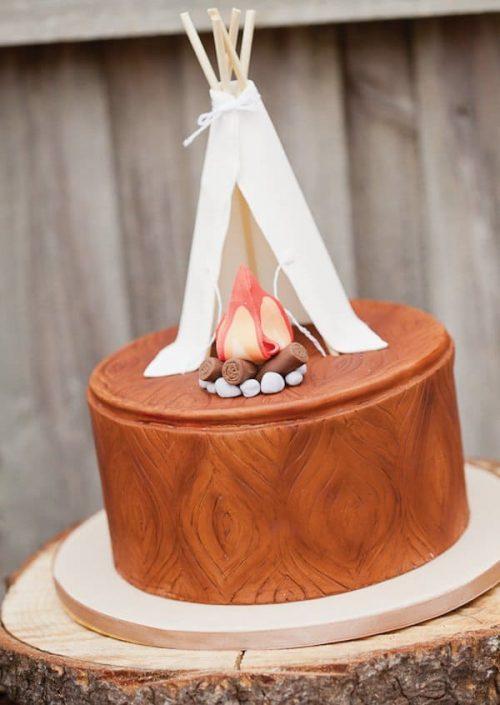 teepee campfire cake