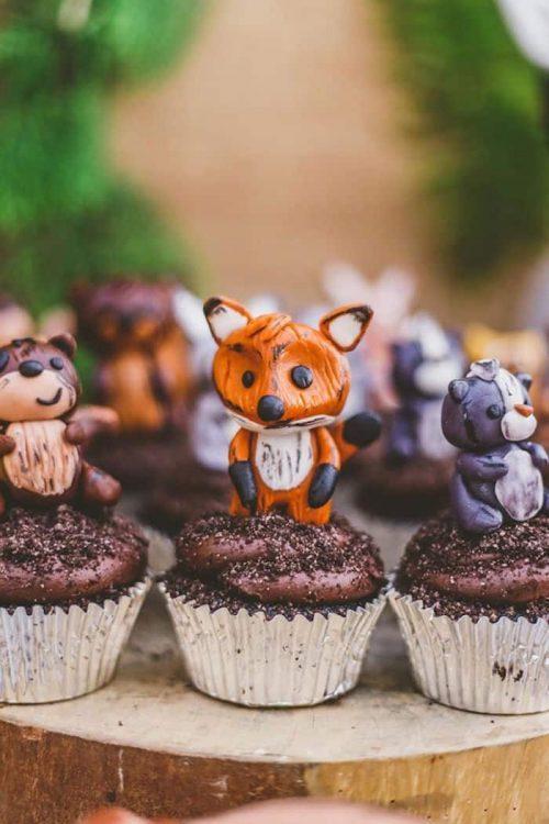 woodland animals cupcakes