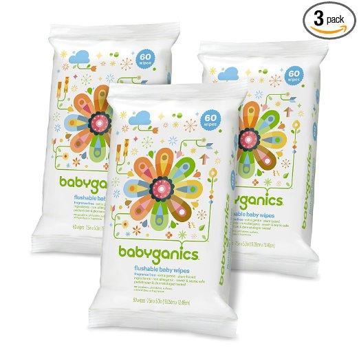 3 packs of Babyganics Flushable wipes – only $7!!